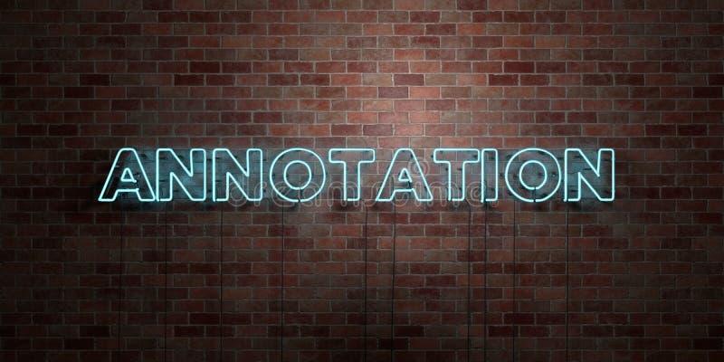 ANTECKNING - fluorescerande tecken för neonrör på murverk - främre sikt - 3D framförd fri materielbild för royalty stock illustrationer
