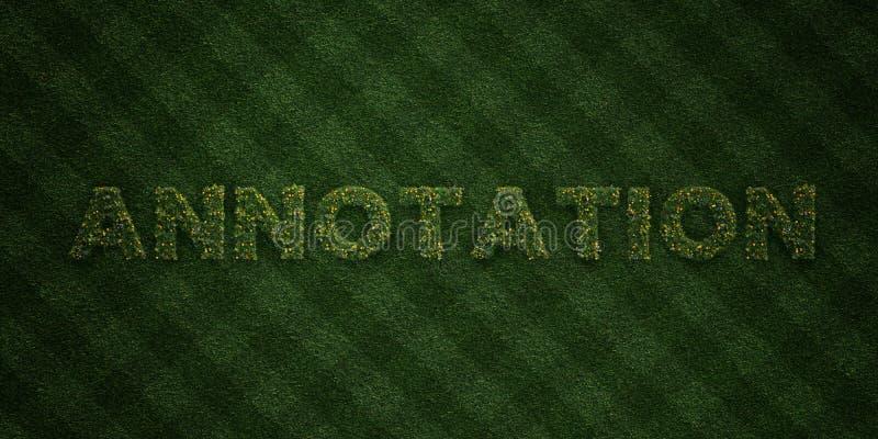 ANTECKNING - nya gräsbokstäver med blommor och maskrosor - 3D framförd fri materielbild för royalty stock illustrationer