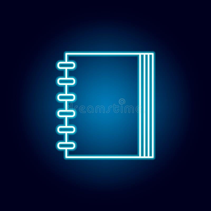 anteckningsbok dagordning, symbol för översikt för adressbok i neonstil beståndsdelar av utbildningsillustrationlinjen symbol tec royaltyfri illustrationer