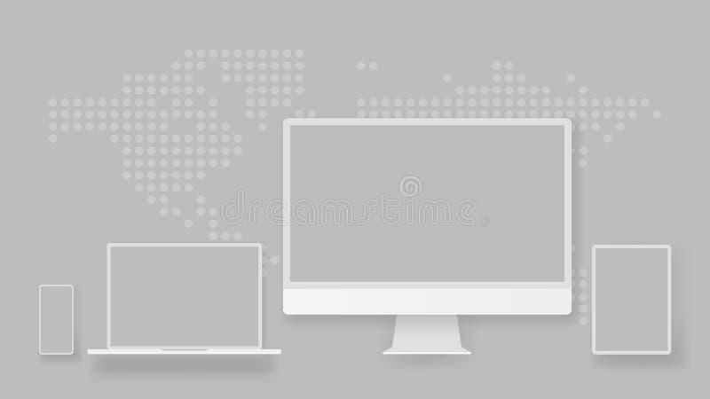 Anteckningsbok eller bärbar dator för vit för skärmskärm för skrivbords- dator minnestavla för smartphone bärbar Apparater för öv vektor illustrationer