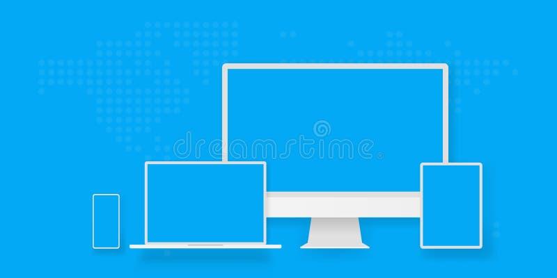 Anteckningsbok eller bärbar dator för vit för skärmskärm för skrivbords- dator minnestavla för smartphone bärbar Apparater för öv royaltyfri illustrationer