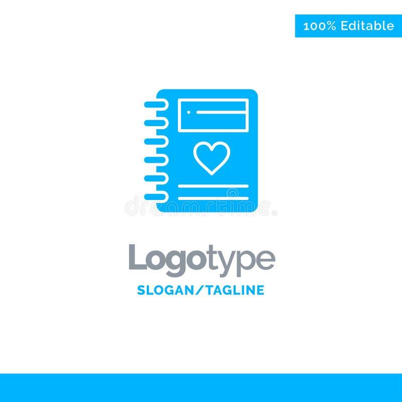 Anteckningsbok förälskelse, hjärta, bröllop blåa fasta Logo Template St?lle f?r Tagline royaltyfri illustrationer