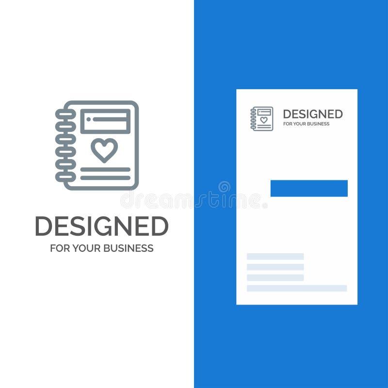 Anteckningsbok, förälskelse, hjärta, bröllop Grey Logo Design och mall för affärskort stock illustrationer