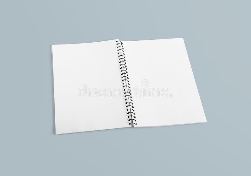 Anteckningsbok för dina detaljer för design, för bild, för text eller för företags identitet Tom spiral limbindninganteckningsbok arkivbild