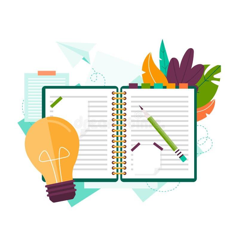 Anteckningsbok för idéer vektor illustrationer