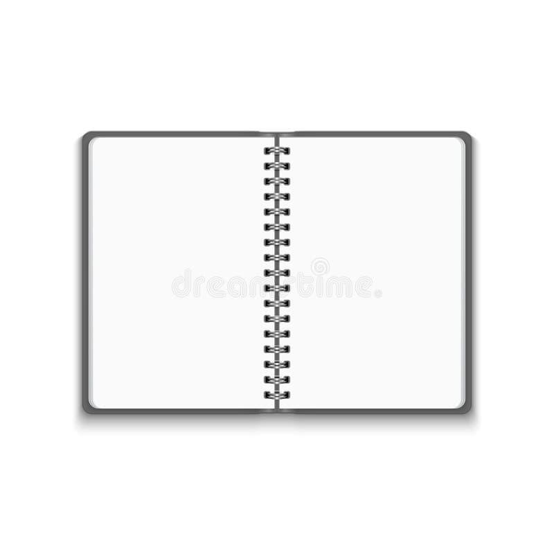 Anteckningsbok för realistiskt mellanrum för vektor öppen royaltyfri illustrationer