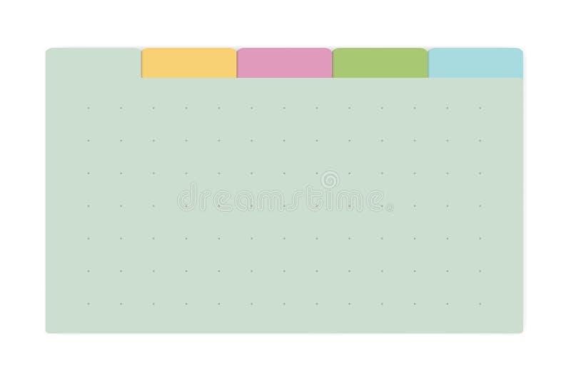 Anteckningsbok för sida för färgprickraster med flikavdelare, vektoråtlöje upp stock illustrationer
