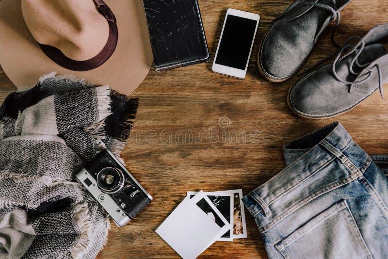 Anteckningsbok för telefon för jeans för hattkameratröja arkivbilder