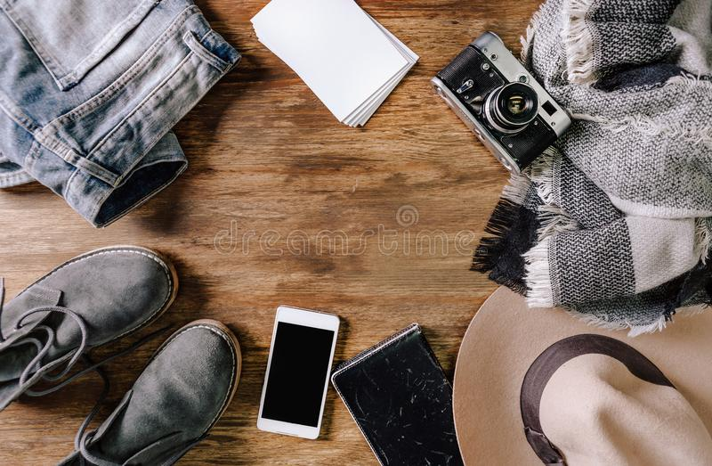 Anteckningsbok för telefon för jeans för hattkameratröja fotografering för bildbyråer