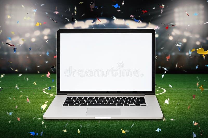 Anteckningsbok för tom skärm med bakgrund för fotbollstadion vektor illustrationer