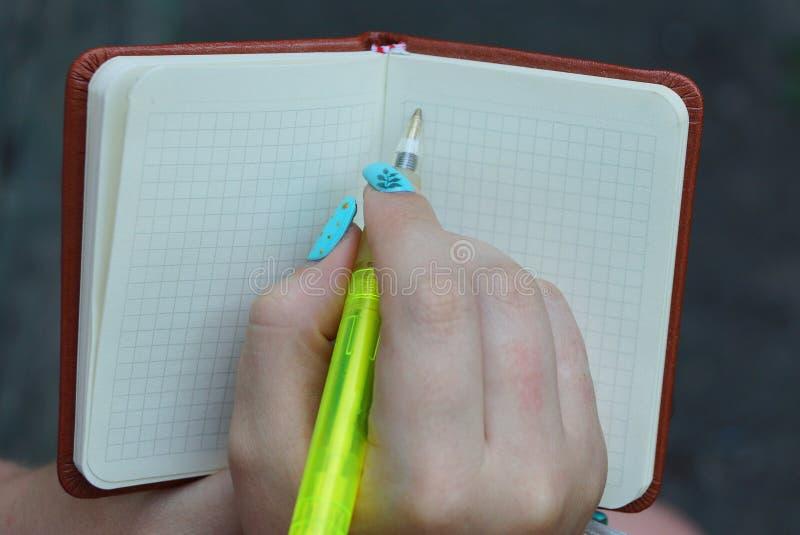 anteckningsbok i hand med en flickapenna som skriver i gräsplan royaltyfria foton