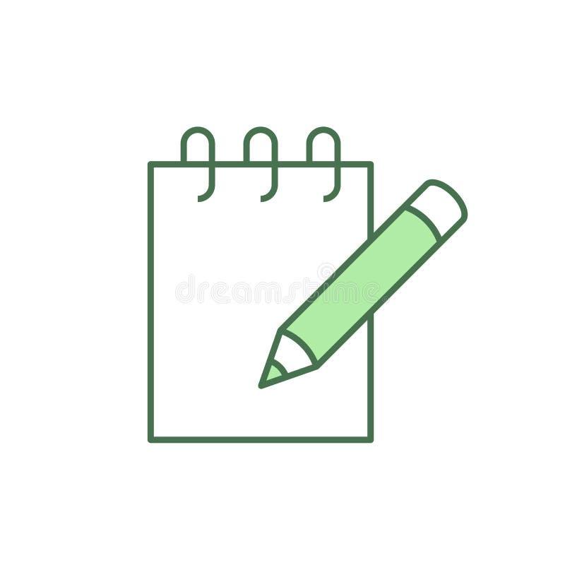 Anteckningsbok med blyertspennasymbolen royaltyfri illustrationer