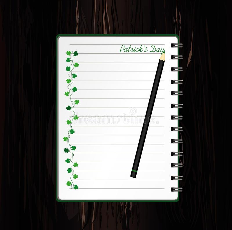 Anteckningsbok med mall hand-dragen gr?n festlig bunting med v?xt av sl?ktet Trifolium och blyertspennan Irländsk ferie - lycklig vektor illustrationer