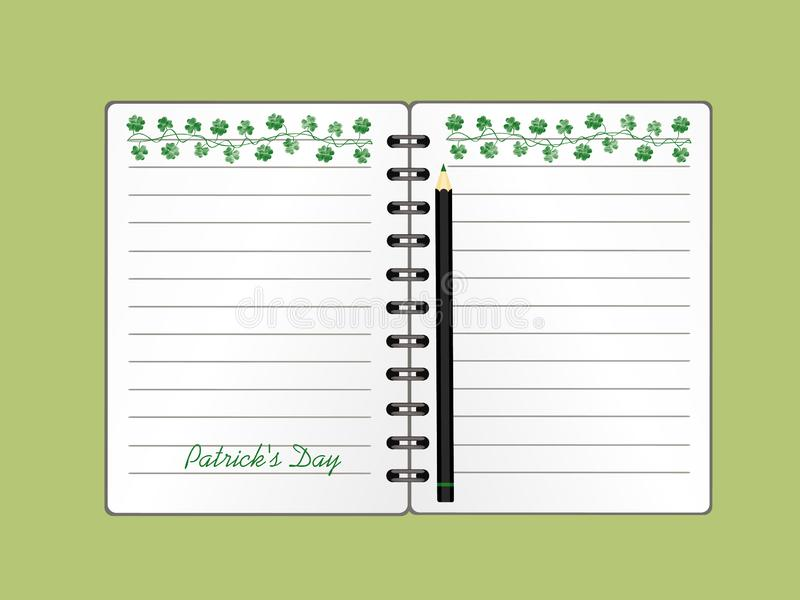 Anteckningsbok med mall hand-dragen gr?n festlig bunting med v?xt av sl?ktet Trifolium och blyertspennan Irl?ndsk ferie - lycklig vektor illustrationer