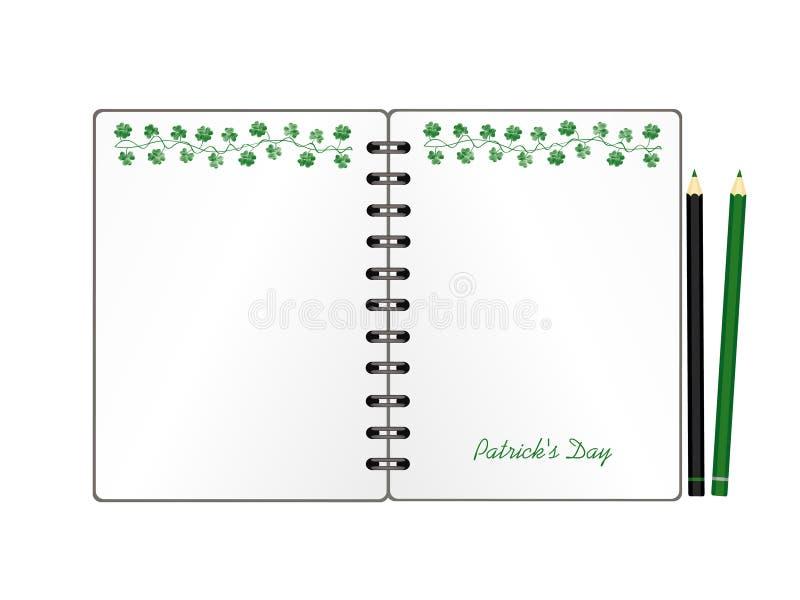 Anteckningsbok med mall hand-dragen gr?n festlig bunting med v?xt av sl?ktet Trifolium och blyertspennan Irl?ndsk ferie - lycklig stock illustrationer