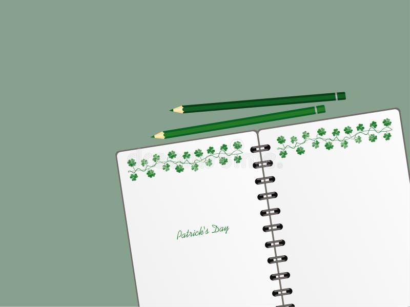 Anteckningsbok med mall hand-dragen gr?n festlig bunting med v?xt av sl?ktet Trifolium och blyertspennan Irl?ndsk ferie - lycklig royaltyfri illustrationer