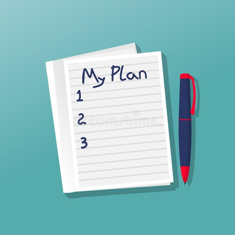 Anteckningsbok med mitt plan vektor illustrationer