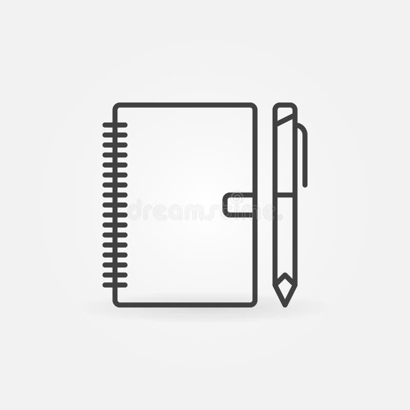 Anteckningsbok med pennöversiktssymbolen Tecken för vektoraffärsstadsplanerare royaltyfri illustrationer