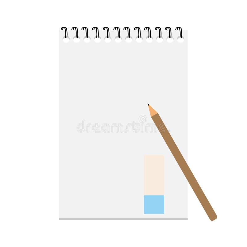 Anteckningsbok och blyertspenna med kopieringsutrymme som isoleras på bakgrund arkivbild