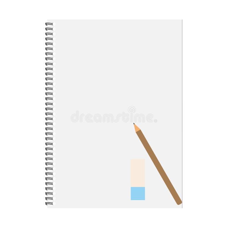 Anteckningsbok och blyertspenna med kopieringsutrymme som isoleras på bakgrund royaltyfri foto