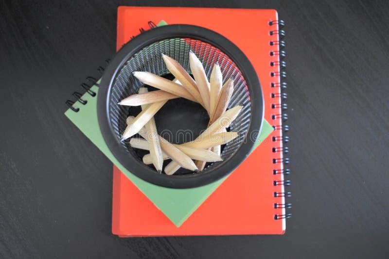 Anteckningsbok och blyertspenna på skrivbordet fotografering för bildbyråer
