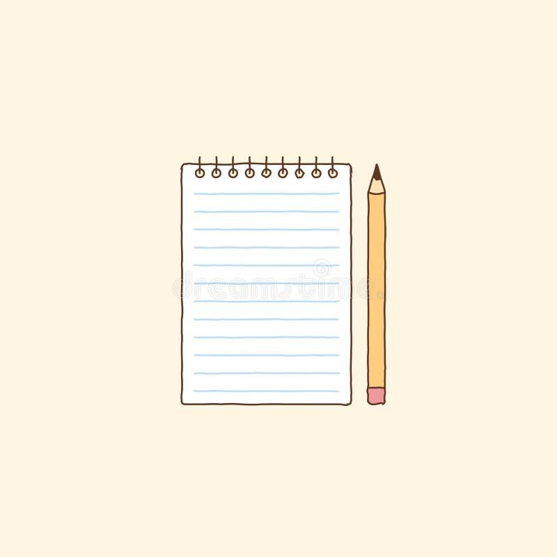 Anteckningsbok och gulingblyertspenna Hand dragen vektorkonstillustration royaltyfri illustrationer