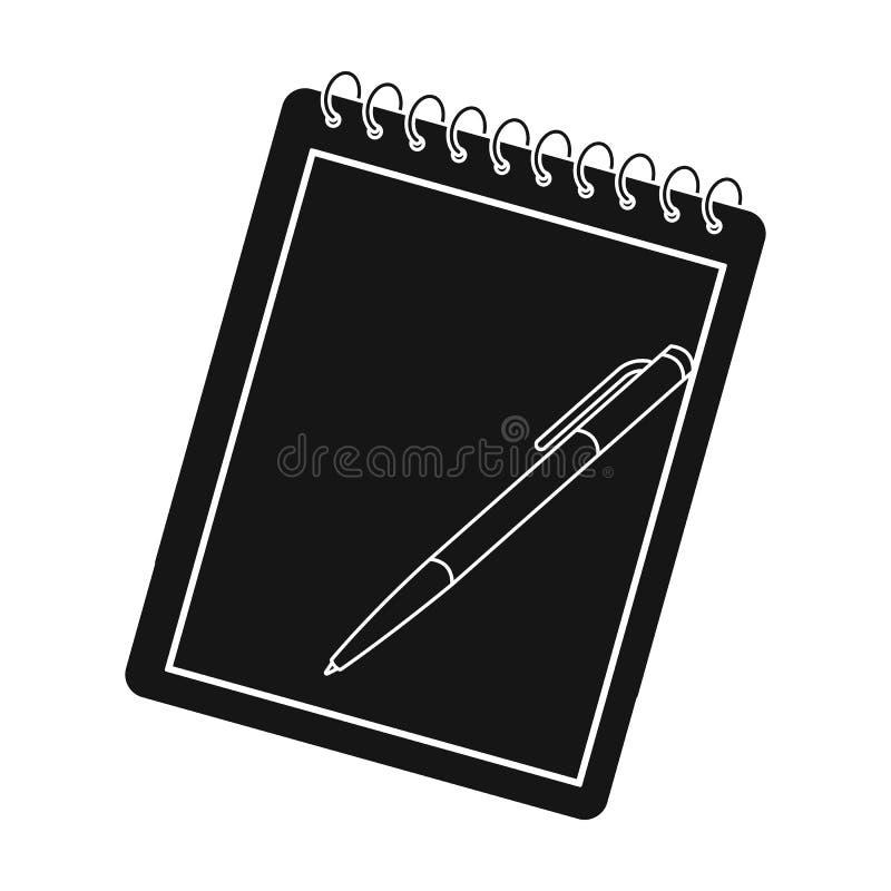 Anteckningsbok- och pennsymbol i svart stil som isoleras på vit bakgrund Hipsterstilsymbol stock illustrationer