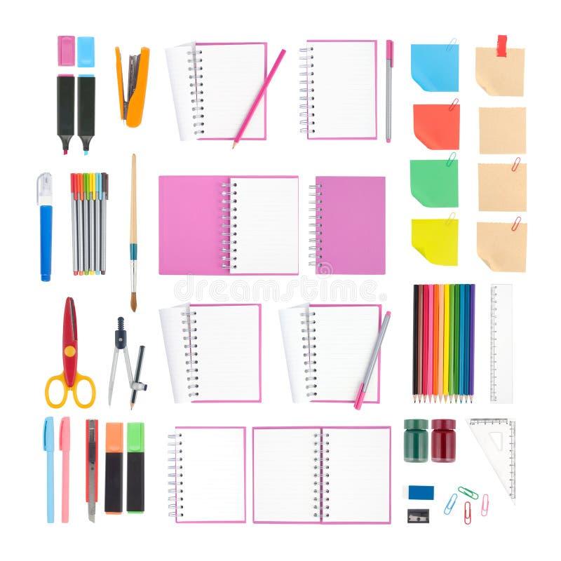 Anteckningsbok- och skola- eller kontorshjälpmedel som isoleras på vit bakgrund och den snabba banan vektor illustrationer