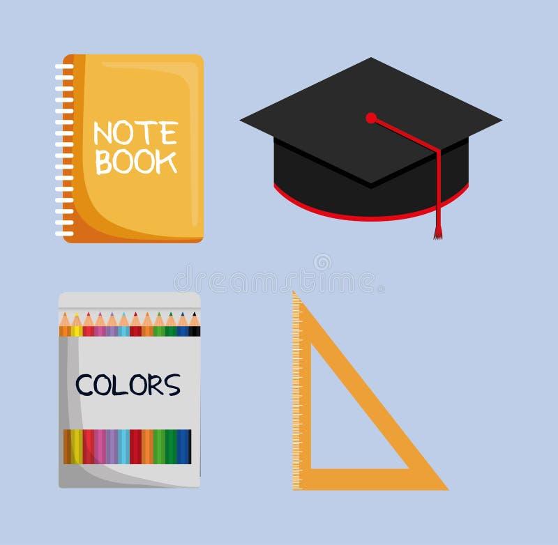 Anteckningsbokavläggande av examenlocket färgar linjalsymbolen vektor illustrationer