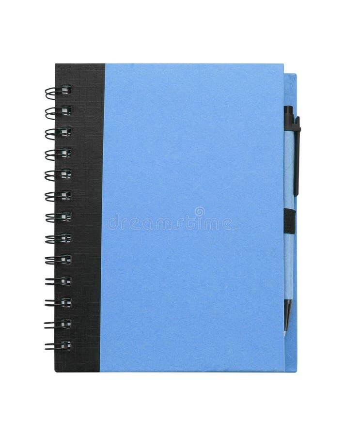 Anteckningsboken med skrivar bakgrund isolerad white royaltyfria foton
