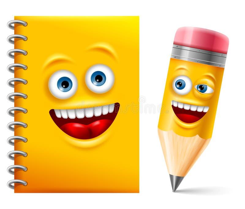 Anteckningsboken och ritar royaltyfri illustrationer
