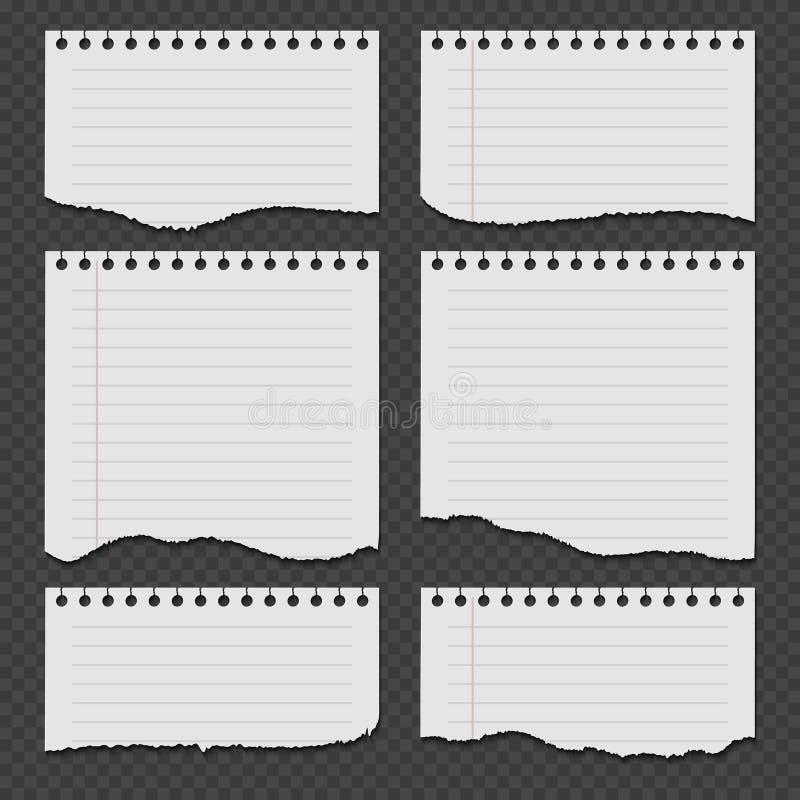 Anteckningsboken skyler över brister med den sönderrivna rev sönder kantvektoruppsättningen stock illustrationer