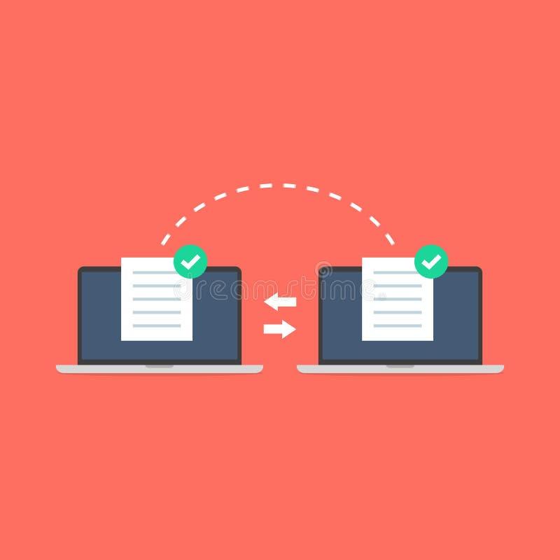 Anteckningsbokmappöverföring Dataöverföringen, ftp sparar mottagaren och den reserv- kopian för anteckningsbokdator vektor illustrationer