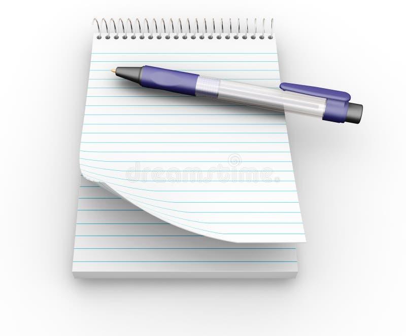 anteckningsbokpenna royaltyfri illustrationer