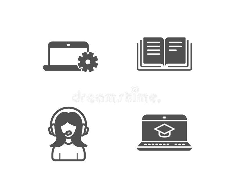 Anteckningsbokservice, utbildnings- och servicesymboler Websiteutbildningstecken vektor illustrationer