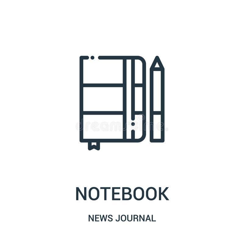 anteckningsboksymbolsvektor från nyheternatidskriftssamling Tunn linje illustration för vektor för anteckningsboköversiktssymbol  stock illustrationer