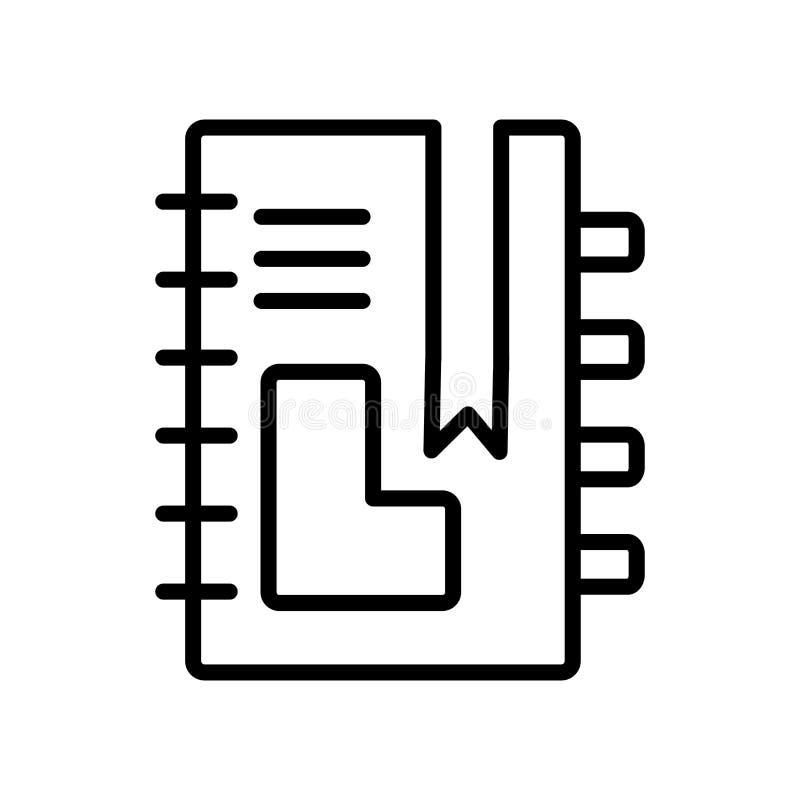 Anteckningsboksymbolsvektor som isoleras på vit bakgrund, anteckningsboktecken royaltyfri illustrationer