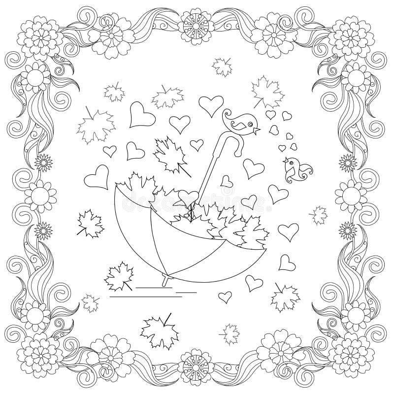Antego stresu abstrakcjonistyczny parasol, serca, lovebirds, liść klonowy royalty ilustracja