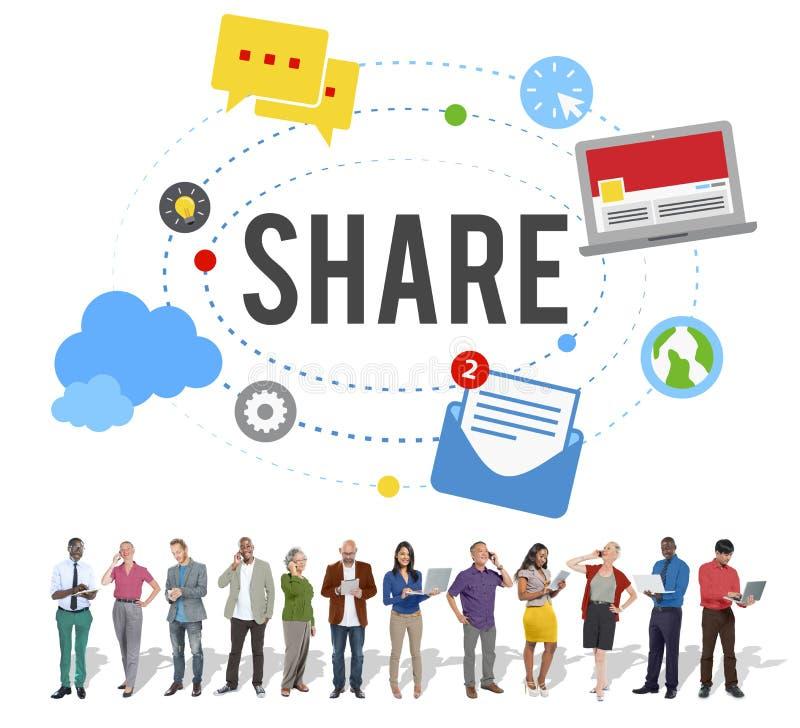 Anteil-Beitrags-Medien, die Social Media-Konzept neigen stockfotografie