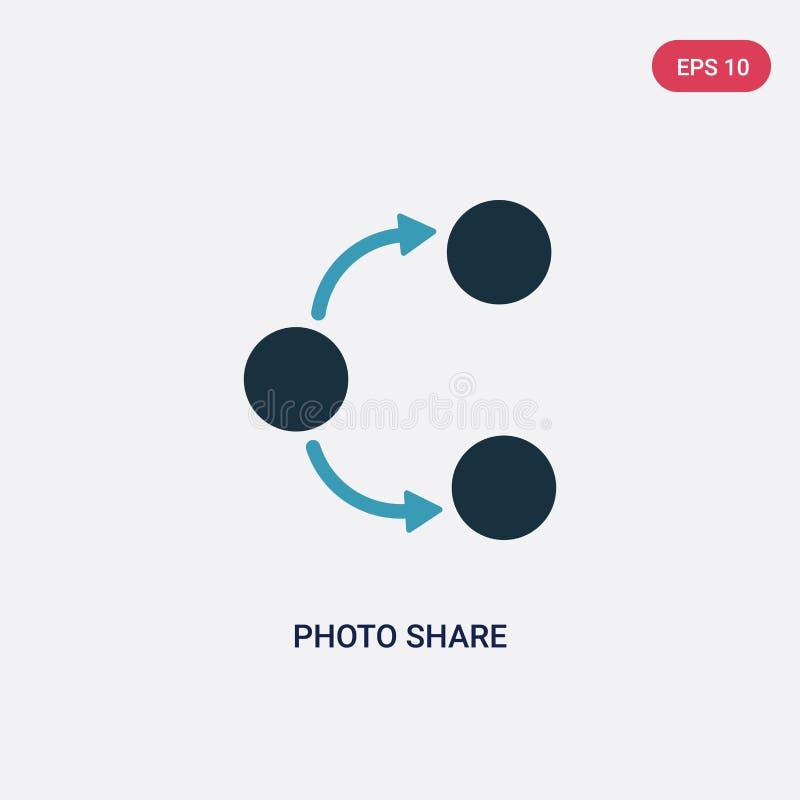 Anteil-Vektorikone mit zwei Farbfotos vom Social Media, das Konzept vermarktet lokalisiertes blaues Fotoanteilvektor-Zeichensymbo stock abbildung