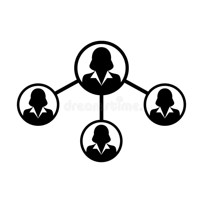 Anteil-Verbindung Glyph-Piktogrammillustration des Leute-Ikonen-Vektor-weibliche Sozialen Netzes stock abbildung