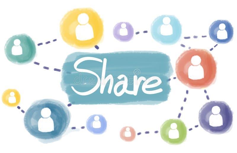 Anteil-Verbindungs-Kommunikations-Teamwork-sozial-Konzept stock abbildung