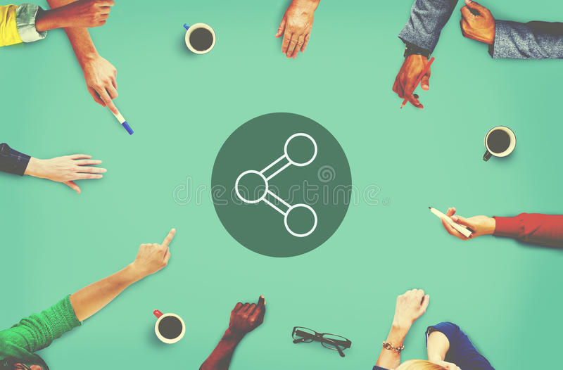 Anteil-Verbindungs-Technologie, die globales Konzept teilt stockbild