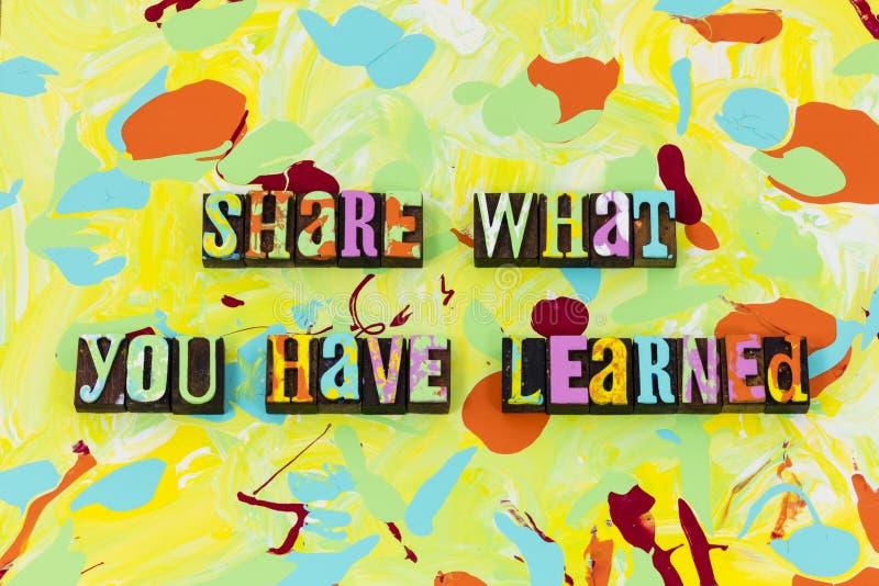Anteil zu unterrichten lernen, dass Ausbildungsführung Geschichtenzeit schaffen stock abbildung