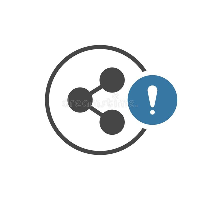 Anteilikone mit Ausrufezeichen Teilen Sie Ikone und Alarm, Fehler, Warnung, Gefahrensymbol vektor abbildung