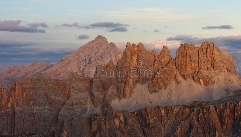 Antelao mountain at the sunset stock image