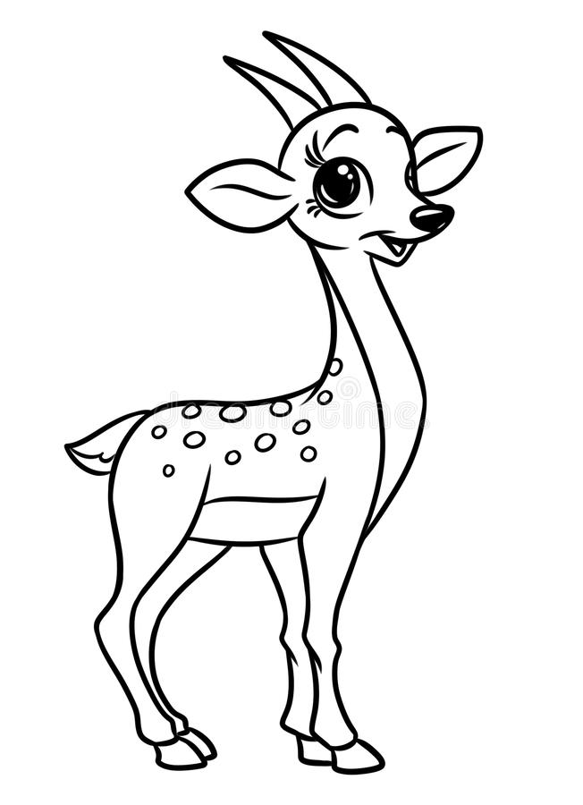 Antelope animal coloring pages cartoon. Illustration isolated image royalty free illustration