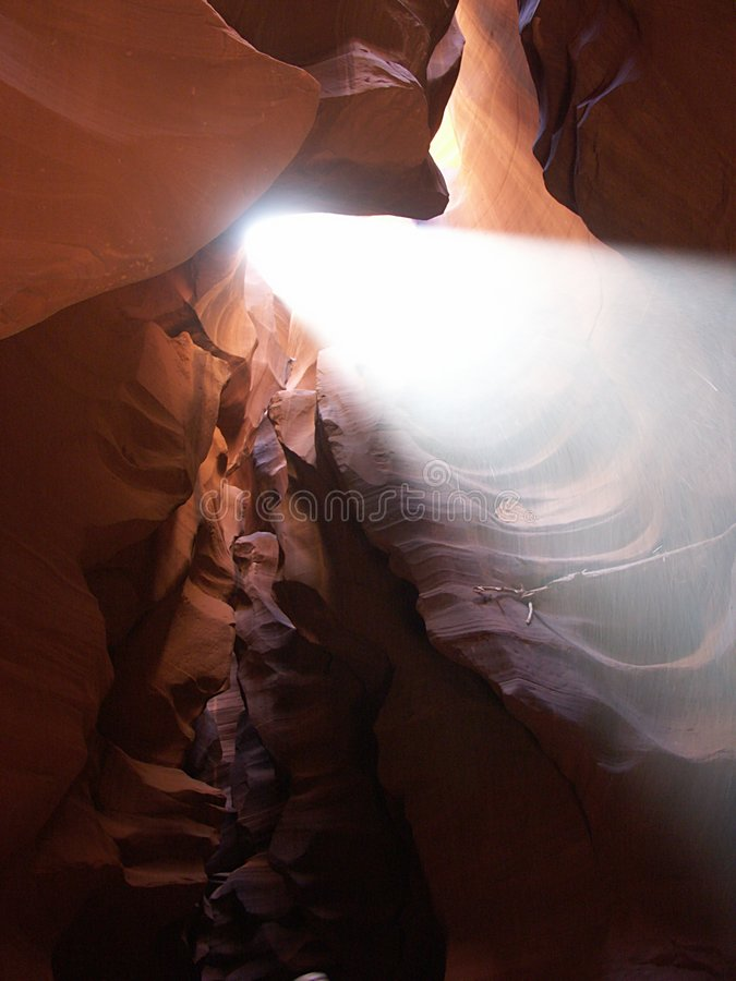 Antelope Canyon. Sunbeam in the Antelope Canyon royalty free stock image