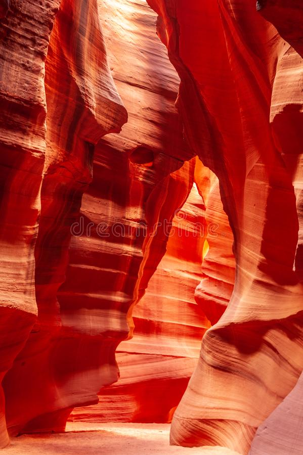 Antelope Canyon in Arizona. The Deep Red Canyon Walls of the Upper Antelope Canyon, near Page, Arizona stock images