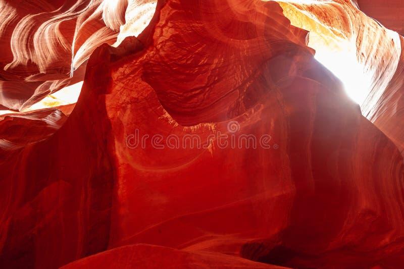 Antelope Canyon in Arizona. The Deep Red Canyon Walls of the Upper Antelope Canyon, near Page, Arizona stock image